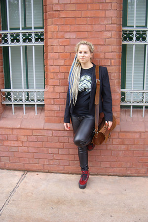 black jacket - ruby red Vans shoes - brown bag - black Ememe t-shirt