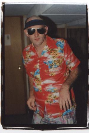 thrifted vintage sunglasses - madras JCrew shorts