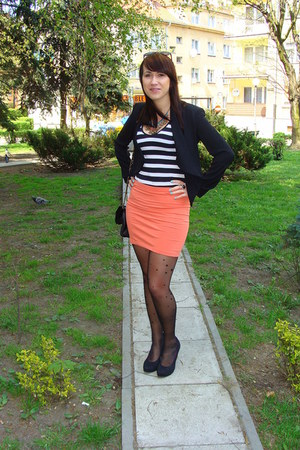 coral H&M skirt - black H&M blazer - black Gatta tights - white F&F Tesco top
