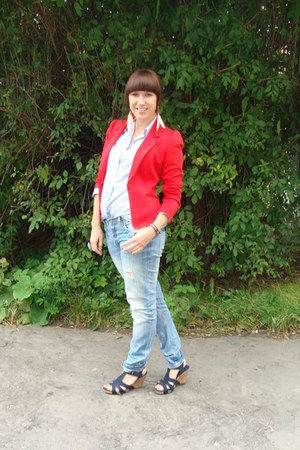 red H&M blazer - sky blue Cubus jeans - light blue vintage shirt