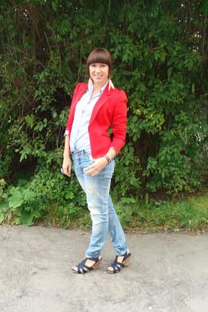 red H&M blazer - sky blue Cubus jeans - light blue vintage shirt