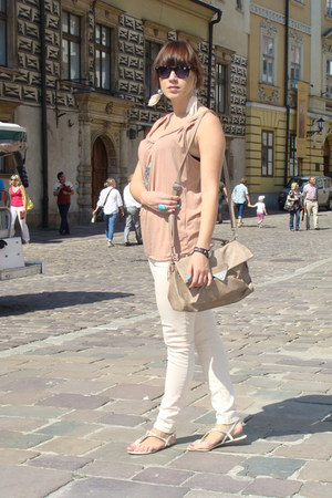nude New Yorker top - beige NN bag - peach H&M pants - white F&F Tesco sandals