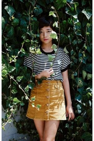 black stripe shirt shirt - mustard button up Urban Outfitters skirt