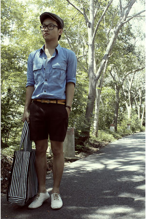 AU DE VINTAGE bag - brown tailored pants - blue Topman shirt - beige Hand Made s