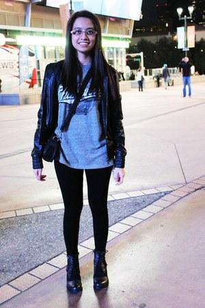 black Forever 21 boots - black leather jacket new look jacket - black leggings