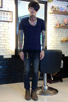 dark gray Pledge jeans - navy American Apparel t-shirt - Goro bracelet