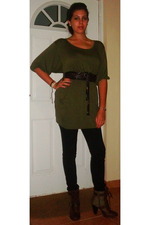 olive green dress - black jeans
