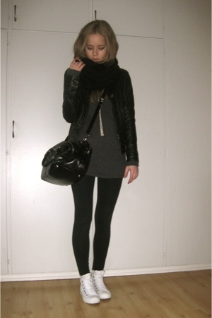 Topshop scarf - Miu Miu - Converse shoes - GINA TRICOT dress - carlings jacket