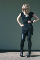 Ida Sjstedt leggings - nanso dress - Tiger of Sweden boots - H&M necklace