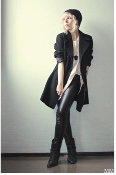 Vero Moda coat - GINA TRICOT t-shirt - Ida Sjstedt leggings - WESC hat - bronx b