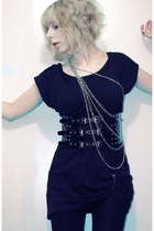 silver chain H&M necklace - black nanso dress - black leggings