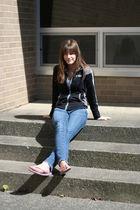 black kohls coat - blue American Eagle jeans - purple shoes - silver American Ea