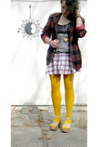 tartan blazer - mustard tights - graphic top - plaid skirt - neutral heels