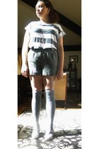 tweed shorts - gray socks - striped blouse - floral heels - heart shaped ring