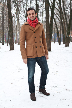 burnt orange armani coat - crimson Paul van haagen shoes - navy Dsquared2 jeans