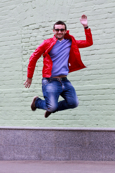 red Moncler jacket - navy Dsquared2 jeans - black Ray Ban sunglasses