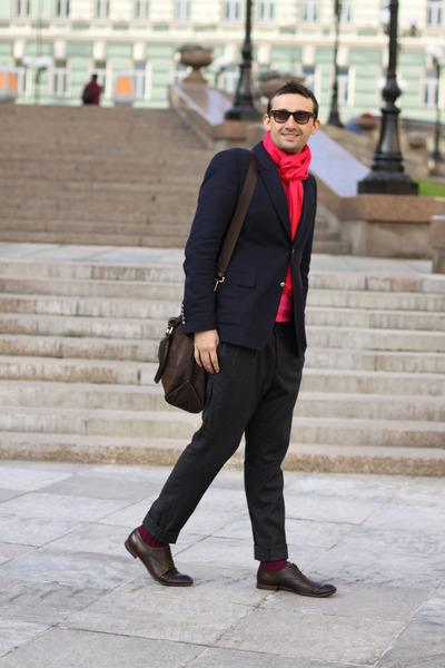 maroon Topman socks - crimson Gucci boots - navy Gucci jacket