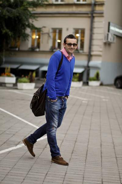 blue Zara sweater - burnt orange Massimo Dutti boots - navy Dsquared2 jeans