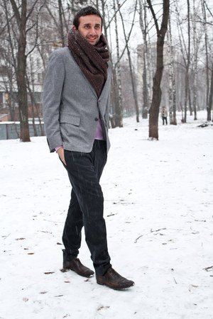 brick red Zara scarf - brick red Gucci shoes - silver Zegna jacket