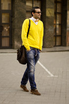 yellow Zara blazer - burnt orange Massimo Dutti boots - blue Dsquared2 jeans