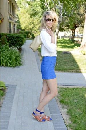 white merona shirt - beige Kenneth Cole purse - blue 2b bebe shorts