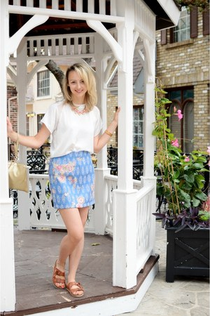 sky blue Zara skirt - camel Kenneth Cole bag - salmon Juicy Couture accessories