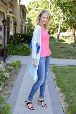 blue Noisy May jeans - blue material girl bag - hot pink 2b bebe top