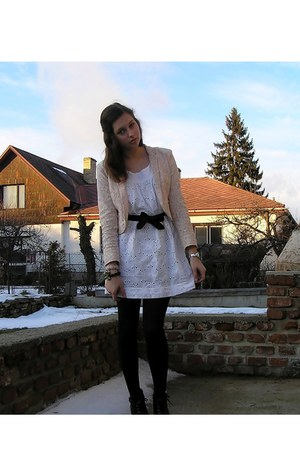black H&M shoes - white Secondhand dress - light pink H&M blazer