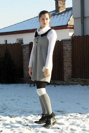 black second hand boots - heather gray second hand dress - white unknown brand s