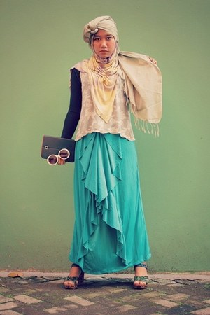 maxi skirt local brand skirt - yellow rainbow yellow Dian Pelangi scarf