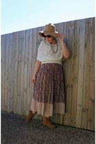 boho dress - suede boots - straw hat - Ray Ban sunglasses