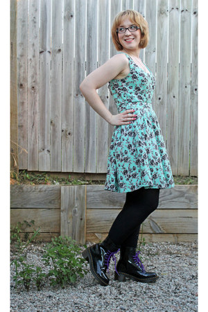 clemency Dr Martens boots - mint floral dress - black tights