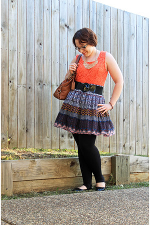 aztec thrited skirt - leggings - Fossil bag - lace peplum top - ballet flats
