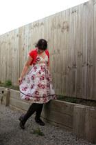 dress - bright red cardigan - brown stockings - brown camper heels