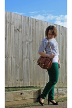 green colored jeans jeans - brown satchel H&M bag - striped top - black heels