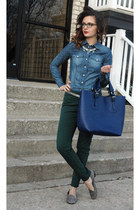 H&M shirt - tote Varriale bag - cynthia rowley pants - Anne Klein loafers