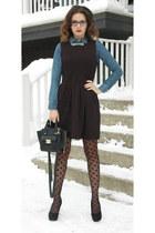 black polka dot H&M tights - black skater One Clothing dress - blue H&M shirt