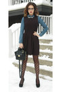 Black-skater-one-clothing-dress-blue-h-m-shirt-black-polka-dot-h-m-tights