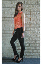 black skinny lola jeans - salmon sheer Fun & Flirt shirt