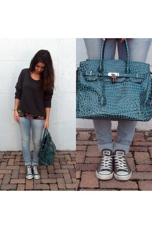 green birkin bag - aquamarine pull&bear jeans - gray wool H&M sweater