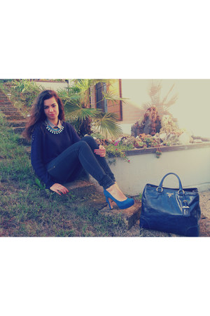 blue leather Prada bag - navy Stradivarius sweater - silver H&M shirt