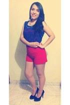 navy velvet Bershka heels - red Forever 21 shorts