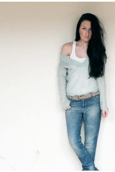 Esprit boyfriend jeans - no name sweater - reserved belt - c&a top