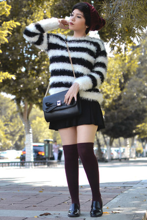 black H&M skirt - crimson Forever 21 hat - black striped H&M sweater