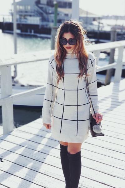 grid dress shein dress