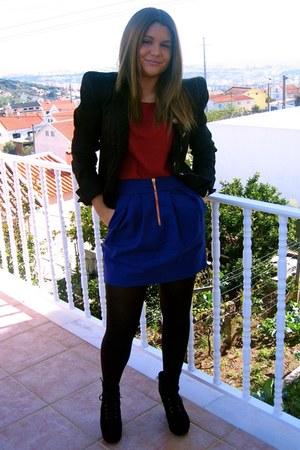 vintage blazer - Zara blouse - Zara skirt - asos wedges