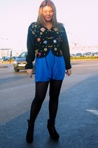 vintage from Ebay cardigan - Topshop shorts - asos wedges