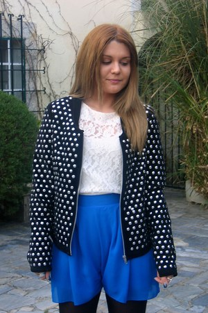 studded Zara jacket - Topshop shorts - asos blouse