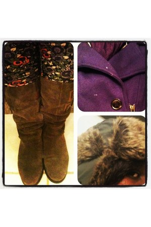 purple purple Old Navy jacket - dark brown browm-suede Nine West boots