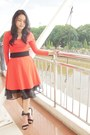 Carrot-orange-dress-black-tulle-skirt-black-heels